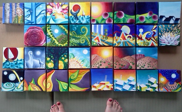 "30 oil paintings painted in 30 days by Eliza Furmansky in June, 2013.   Oil on canvas. Each painting measures 4"" x 4"" x 1"""