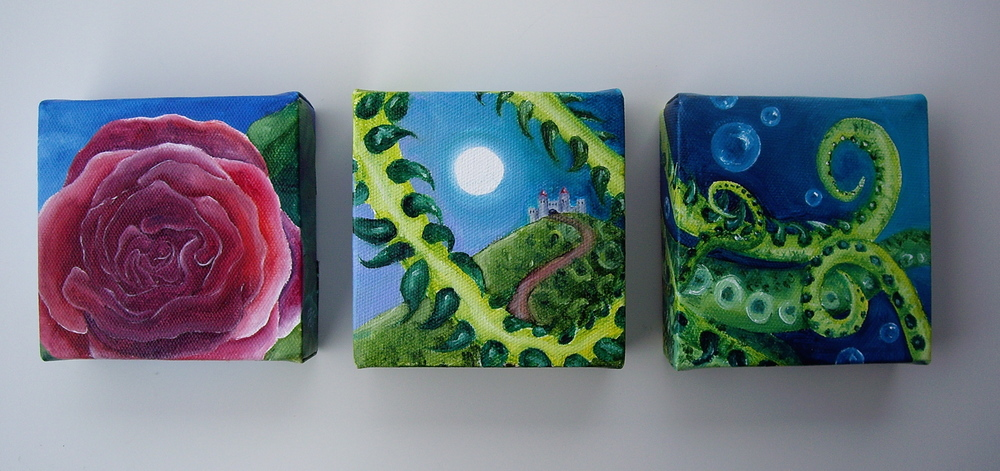 "Oil on canvas. 3 canvases: each 4"" x 4"" x 1"" . 2013    Purchase prints here."