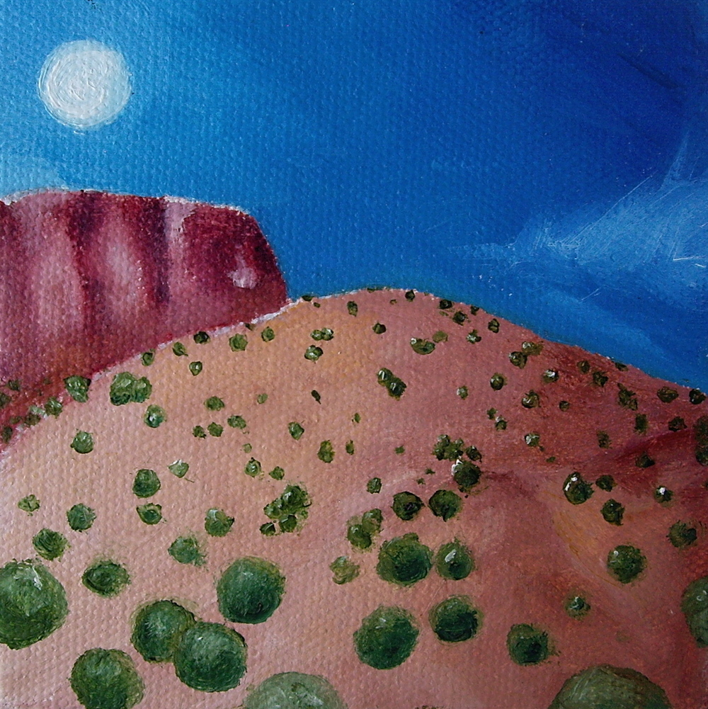 "The Mesa: Oil on canvas. 4"" x 4"" x 1""  2013    Purchase print here."
