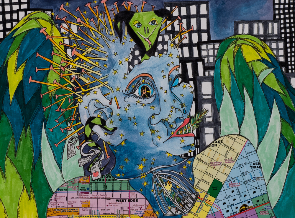 "Mixed media on paper. 10"" x 14""  2005"