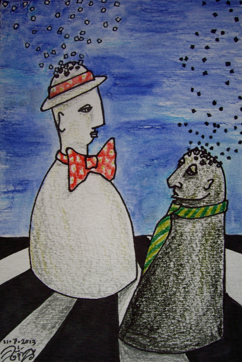 """Daily Doodle #3. Ink and Watercolor. 7 1/2"""" x 5"""". 11/ 7/ 13.  Win it here."""