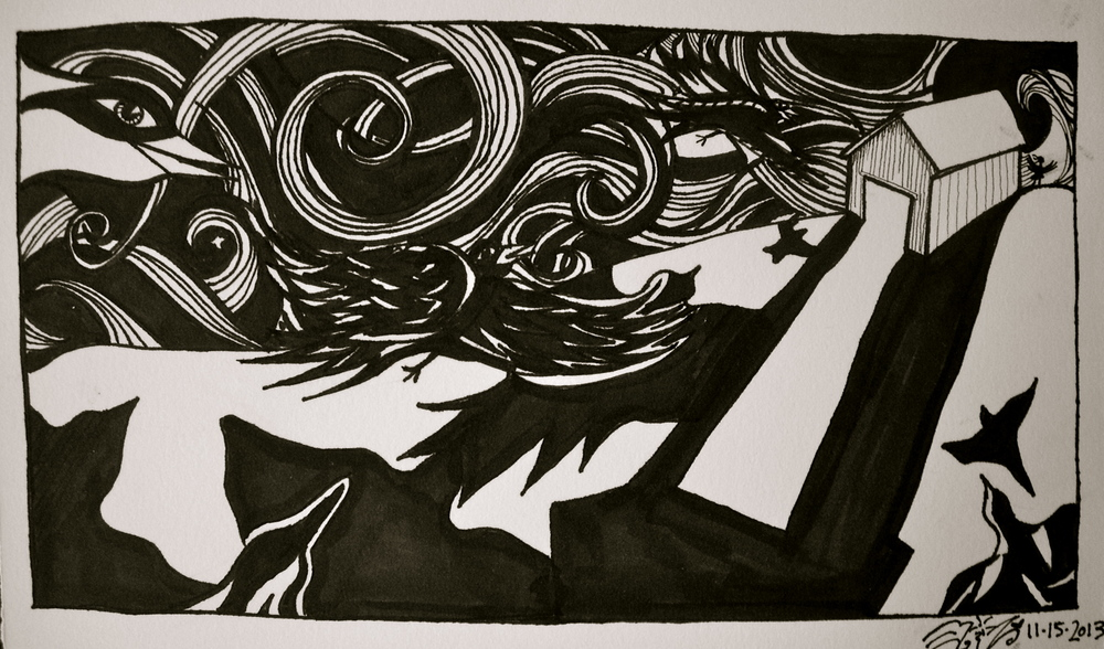 """Ink on watercolor paper. 8 12"""" x 5"""". 11/ 15/ 2013.  Win it here."""