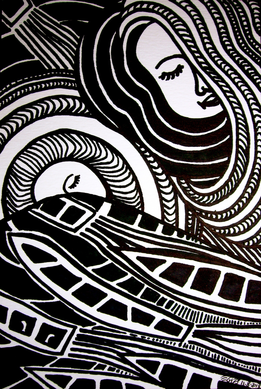 "Ink on watercolor paper. 7 1/2"" x 5"". 2013.  Purchase print here."