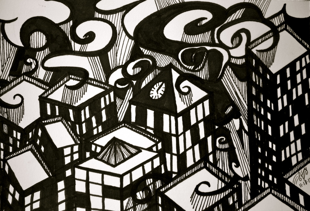 "Ink on paper. 7 1/2"" x 5"". 11/ 18/ 2013."