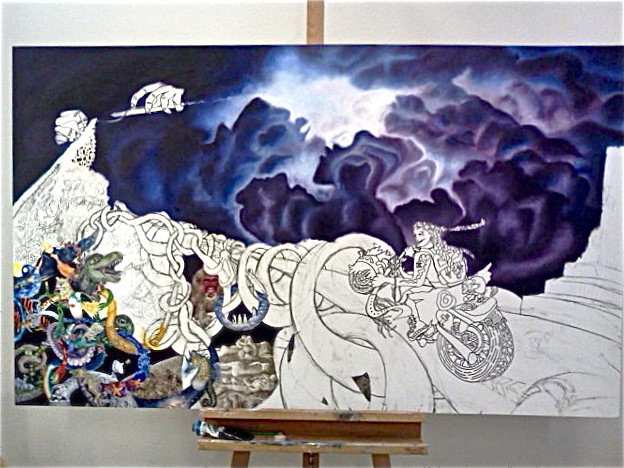Zaza Fearless (in process). Oil on canvas. 3' x 5'.
