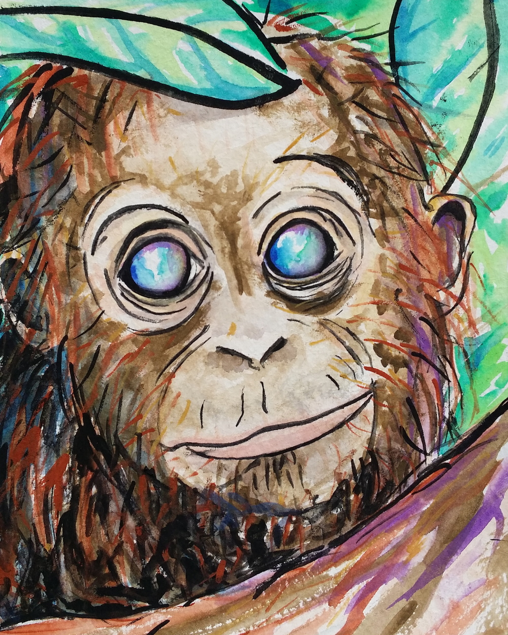 """Watercolor on paper. 5"""" x 6"""". 4/22/14.  Win it here  or  PURCHASE A PRINT HERE"""