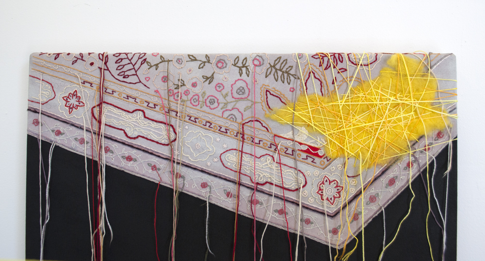 Sara Jones, detail:  It Was There,  acrylic and thread on canvas, 2013