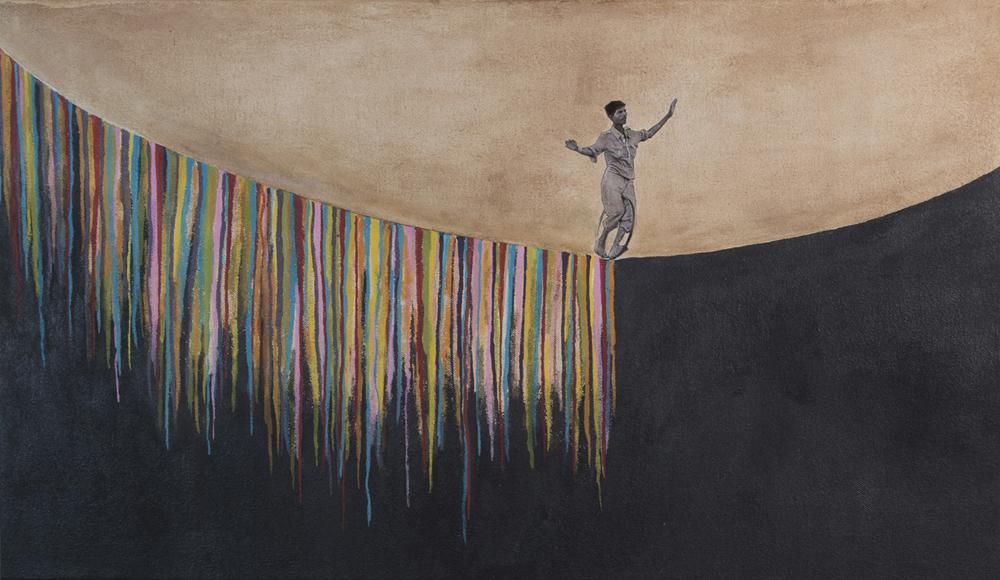 "Skywalker, 2013, acrylic, gouache, watercolor on canvas, 14"" x 24"""