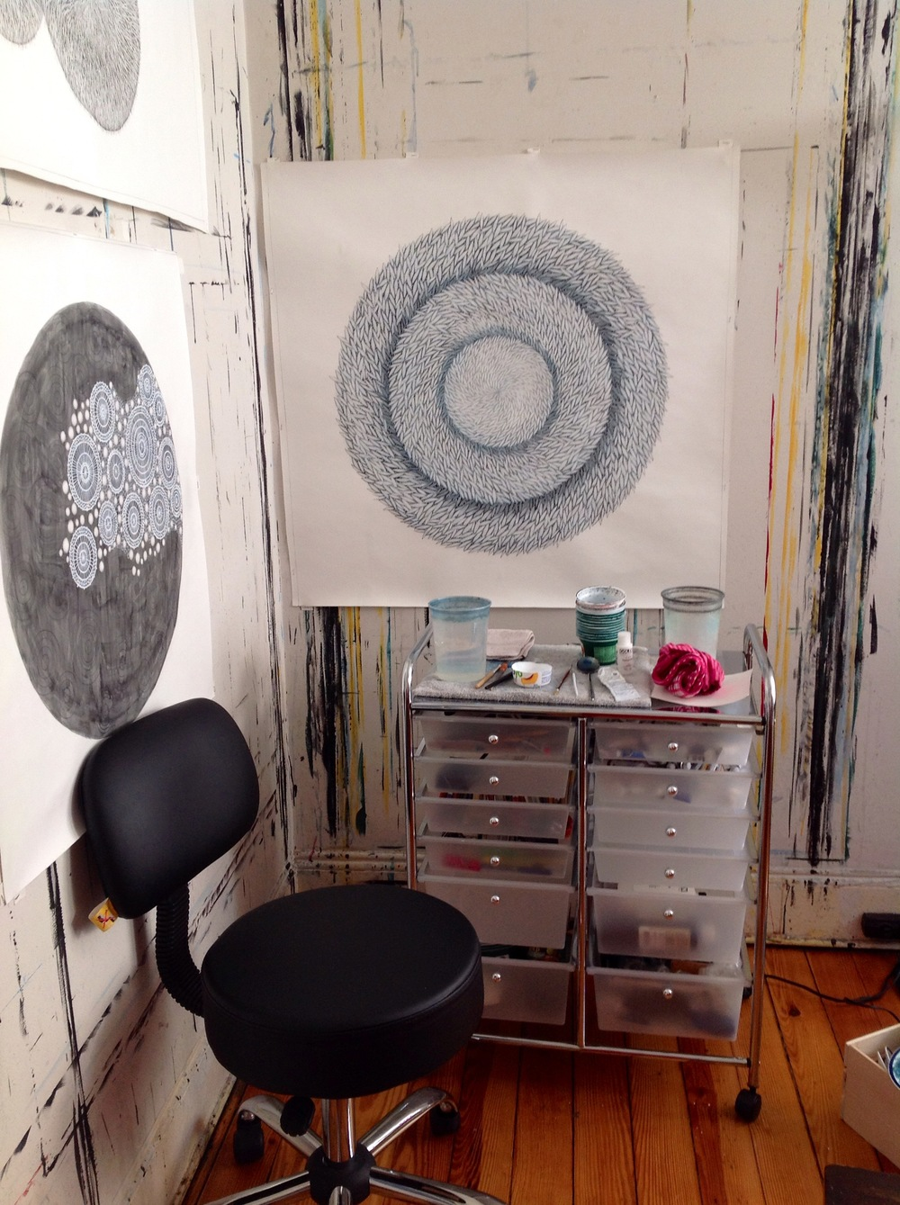 Inside her studio