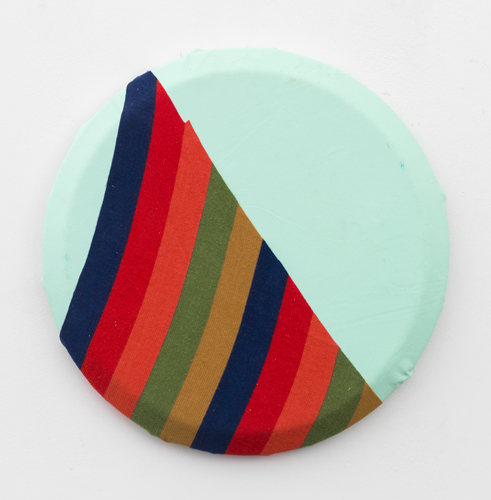 Martha Clippinger, Split, 2013, fabric on oilcloth,14""