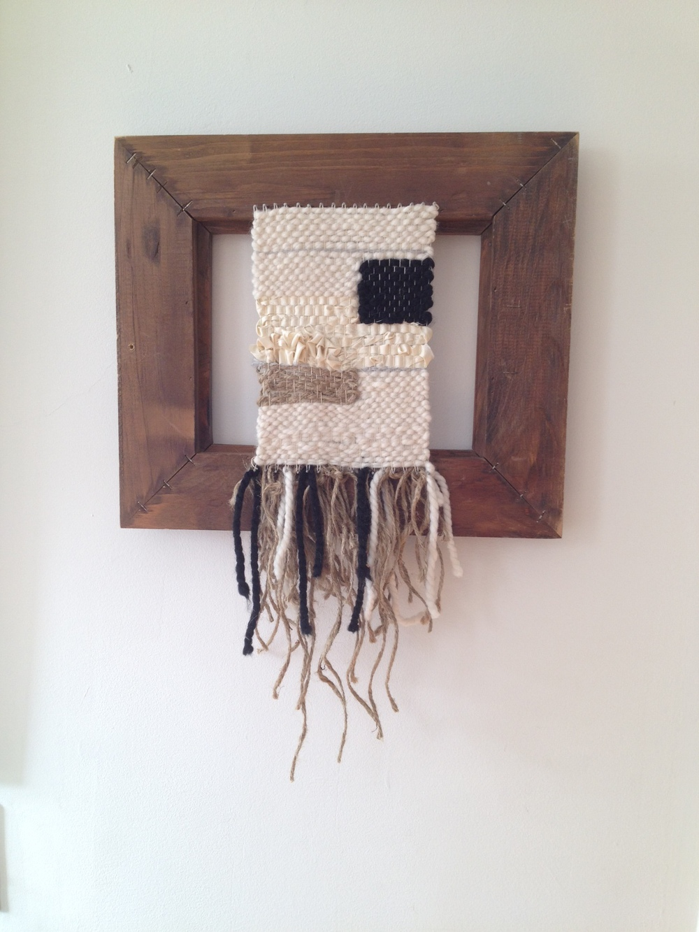 "Fay Koplovitz's weaving, (untitled) measures 15""wide x 22""high"