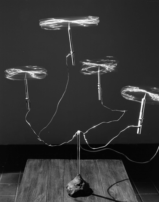 David Goldes,  Charged Wires Spinning and Balancing on Exacto Knives,  Gelatin Silver Print, 2012 Courtesy  Yossi Milo Gallery Website