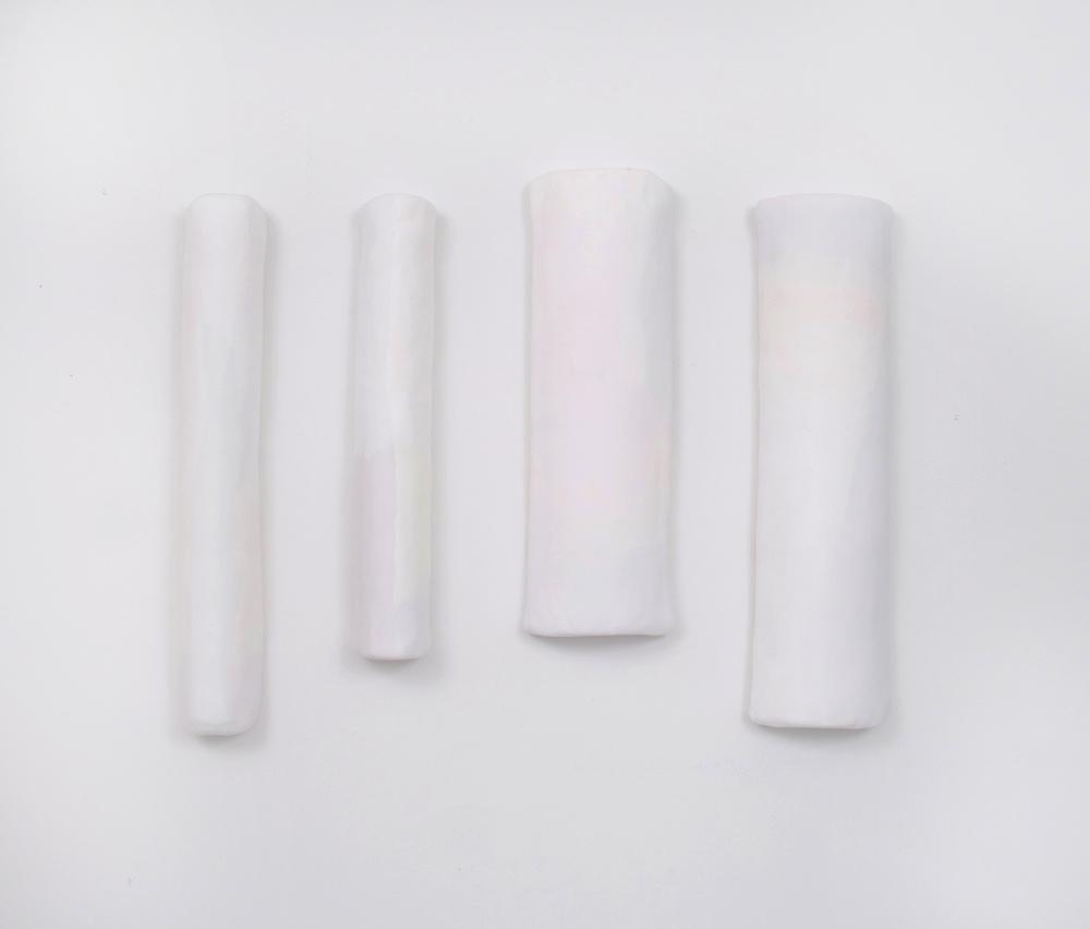 Virgins I - IV by Megan Hays,plaster, styrofoam, gouache,approx 18 x 18 x 3,2013
