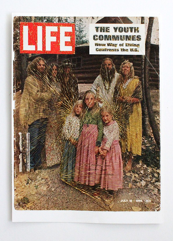 "Sarah G. Sharp The Youth Communes, 2013 embroidery thread on found Life Magazine cover. 18"" x 22"""