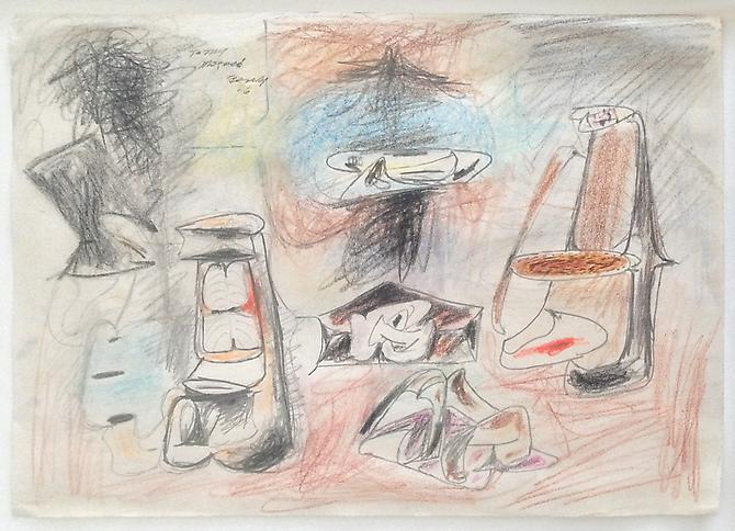 "Arshile Gorky (1904-1948), ""To my Mougouch (dedicated to Agnes Magruder),"" 1946 Graphite and crayon on paper 8 ½ x 10 7/8 inches Private Collection, New York, courtesy Norte Maar and Outlet Fine Art"