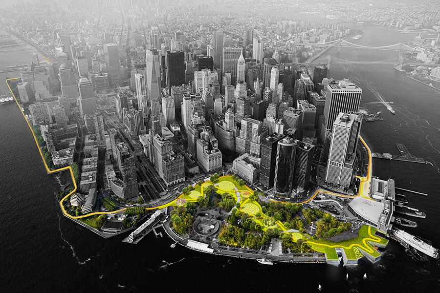 THE TEAM LED BY BIG PROPOSED A LANDSCAPED BERM AROUND MANHATTAN TO PROTECT AGAINST FLOODING. COURTESY BIG via  The Architect's Newspaper .