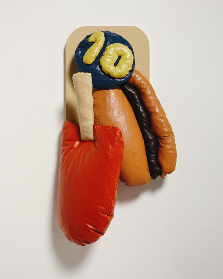 CLAES OLDENBURG Popsicle, Hamburger, Price, 1961-1962 canvas stuffed with kapok, painted with enamel, as seen on our Pinterest board.