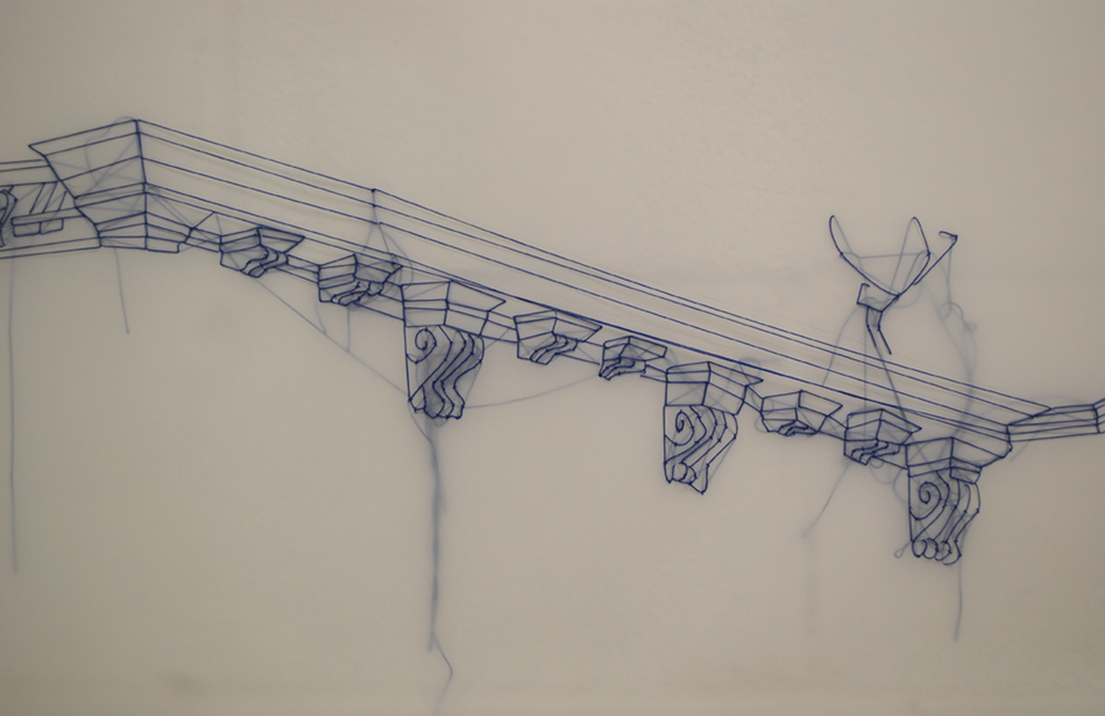 J Carpenter,  the cadence of days (detail), embroidery on dendrite, 40' x 2', 2013