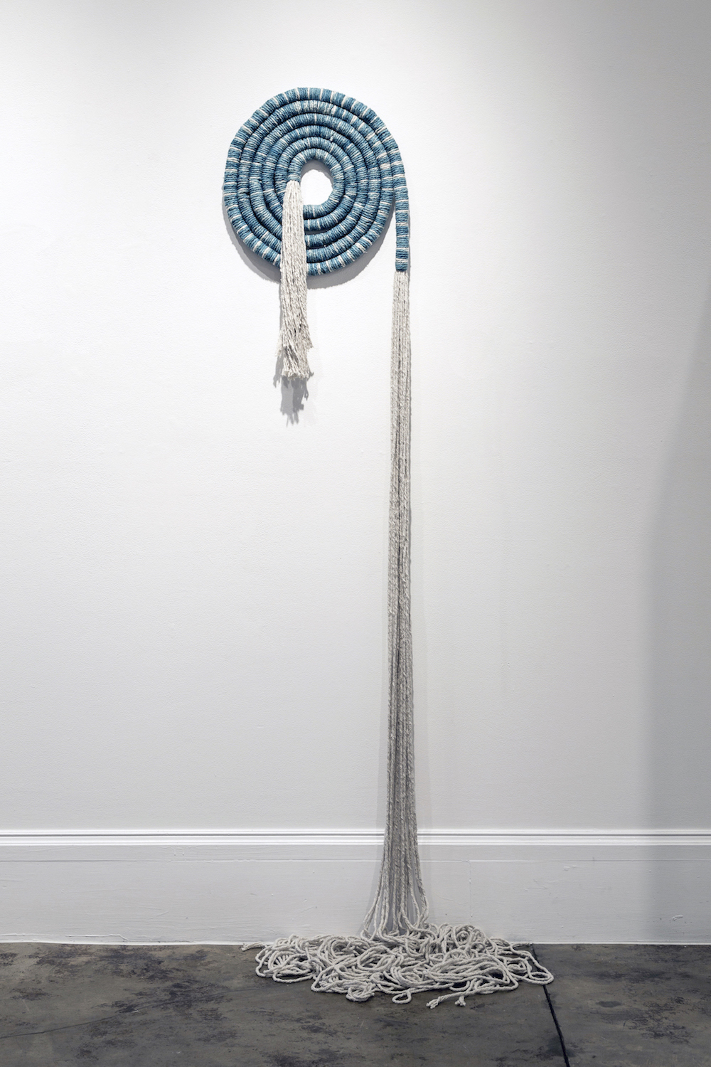 "Liz Robb, Space Spiral, 2014, 18"" x 150"", cotton, indigo"