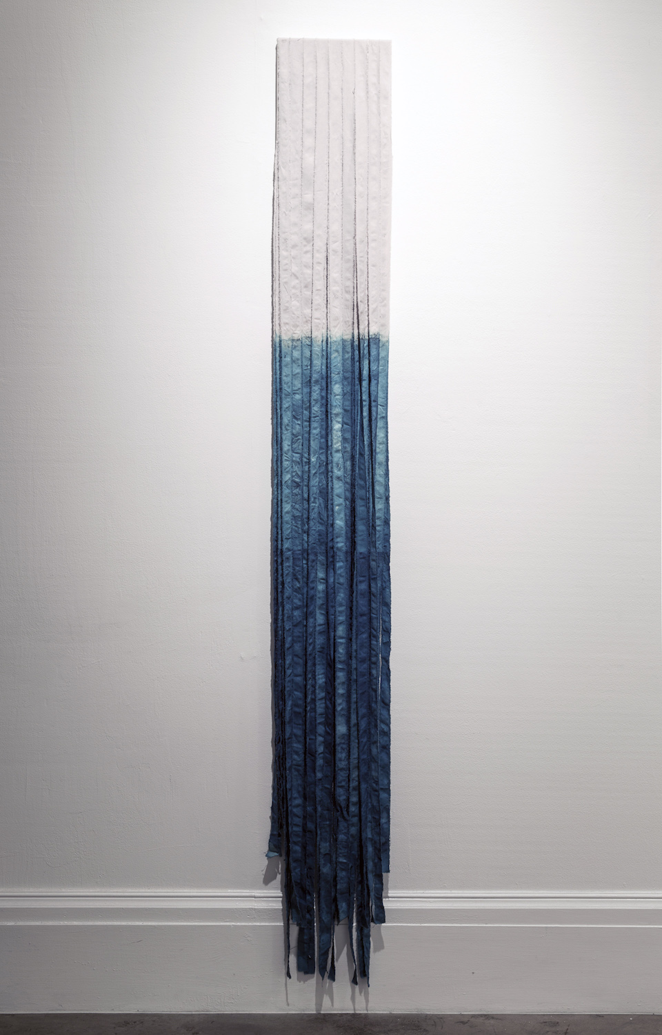 "Liz Robb, Dipped Fringe, 2013, 12"" x 72"", cotton, indigo"