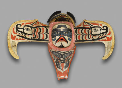 Kwakwaka'wakw artist. Thunderbird Transformation Mask, 19th century. Alert Bay, Vancouver Island, British Columbia, Canada. Cedar, pigment, leather, nails, metal plate, open: 48 x 71 x 15 in. (121.9 x 180.3 x 38.1 cm), closed: 20 1/2 x 17 x 29 1/2 in. (52.1 x 43.2 x 74.9 cm). Brooklyn Museum, Museum Expedition 1908, Museum Collection Fund, 08.291.8902, from the Brooklyn Museum site.