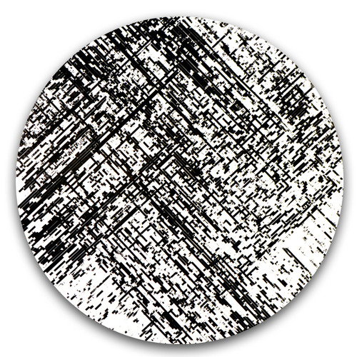 """Decompose"" / magnetic cassette tape coating on panel / 24"" diameter / 2014"