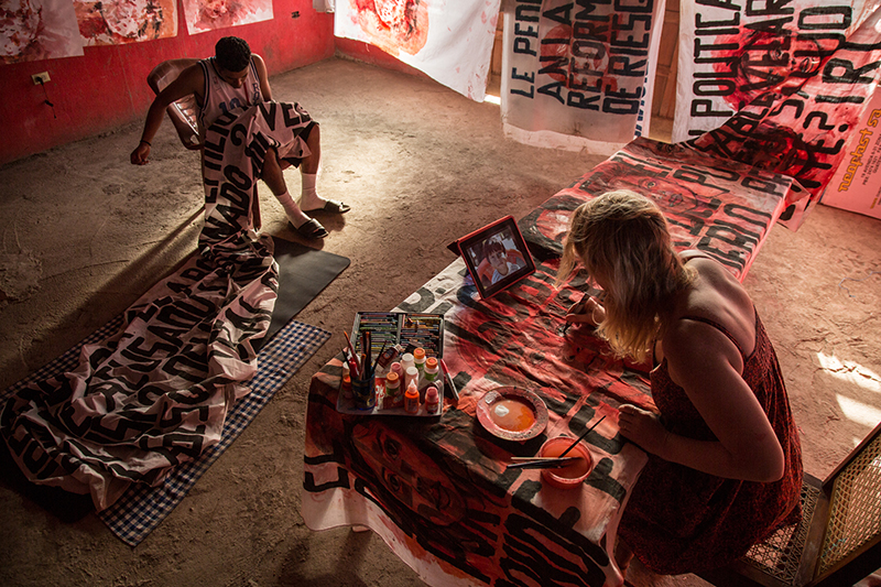 Aubrey at work in her temporary studio in Nicaragua