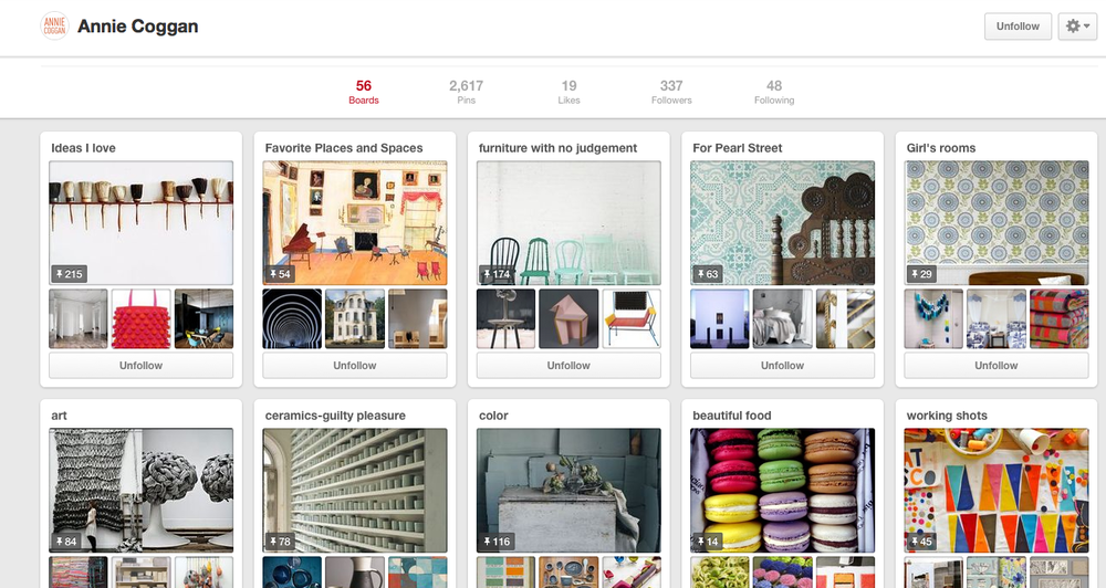 Starting a Pinterest board is a great way to figure out your visual style. Artist and designer Annie Coggan uses Pinterest in a really effective way—check out her boards to get a sense of her visual style.