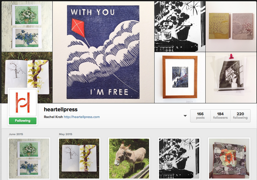 Instagram is another great way to start keeping track of your personal visual style. Here is a screenshot of Heartell Press' visually cohesive Instagram page.