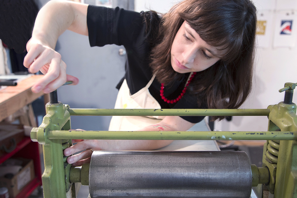 Rachel Kroh of Heartell Press at work in her studio, photo by Kind Aesthetic