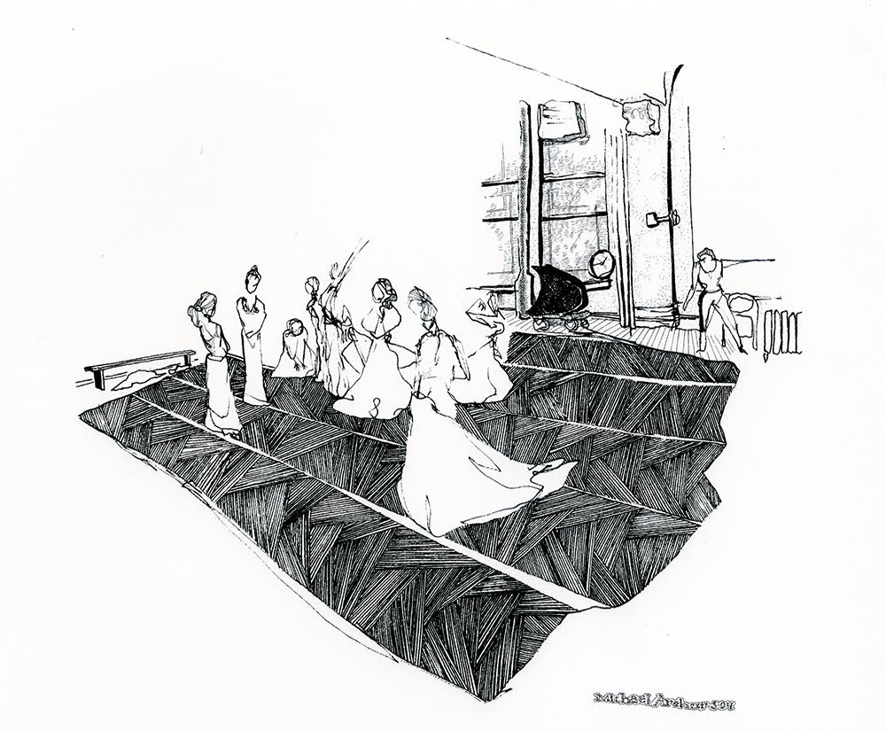 A drawing by Michael Arthur at the Martha Graham Dance Company