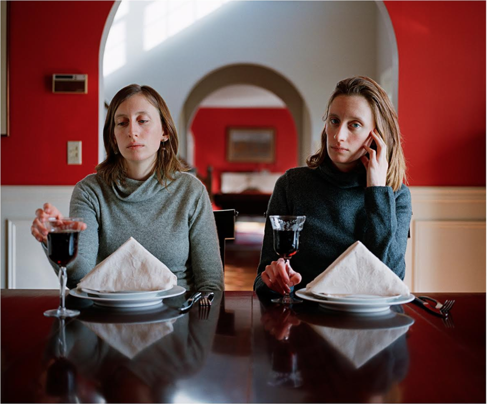 Rikki and Carrie, Dining Room. Carrie Will, 2008 From the series entitled, I am redundant, half of a whole, a freak, identical and lucky. Courtesy Novado Gallery, Jersey City