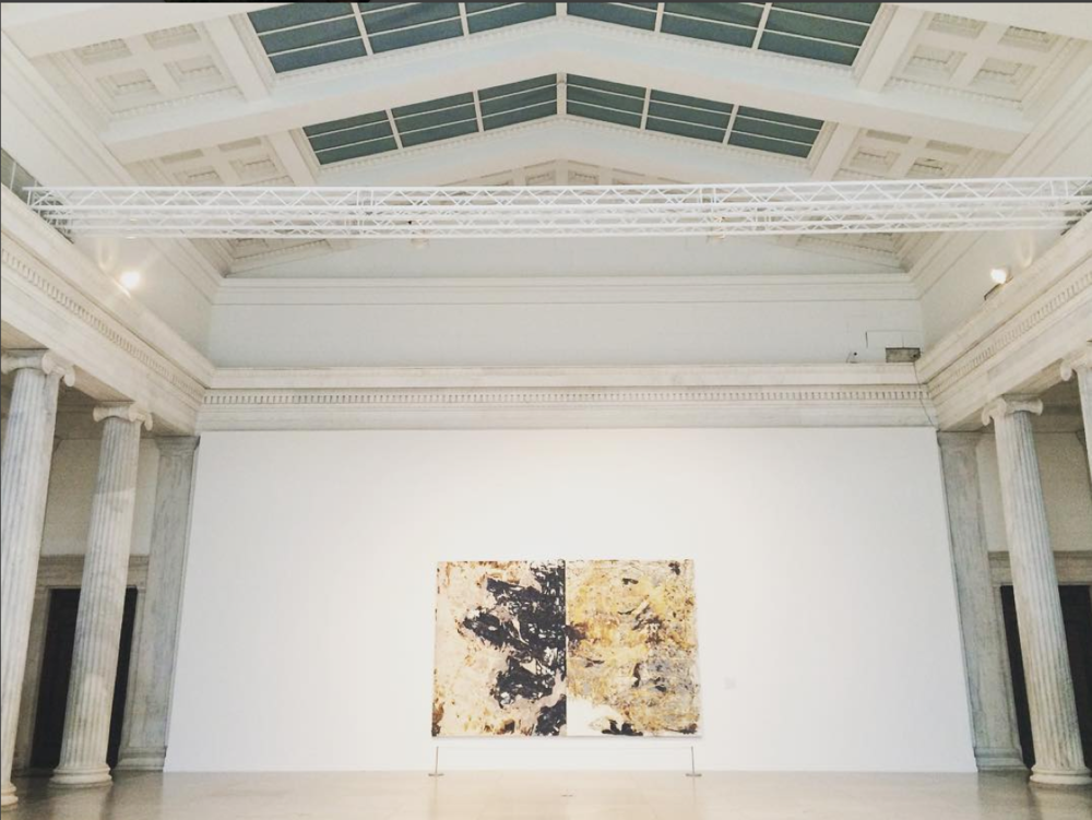 A glimpse of a Mark Bradford piece at the Albright Knox in Buffalo, NY, part of the exhibition  Shade: Clyfford Still / Mark Bradford.  Photo by Sara Jones.