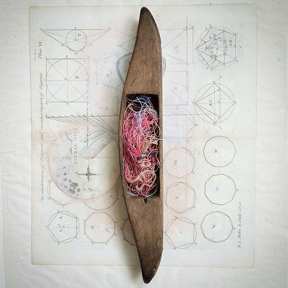"Toolshedding | artifacts 02 | assemblage (2015),  16"" x 16"", vintage wooden shuttle with recycled threads and collage 