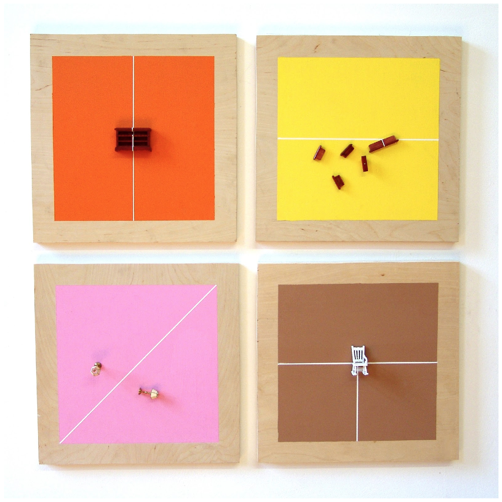 "Traci Talasco, Juggling Act: Various States of Balance and Imbalance, 3/4"" plywood, interior paint, dollhouse furniture, (4) 12 x 12 inch panels, 2012."