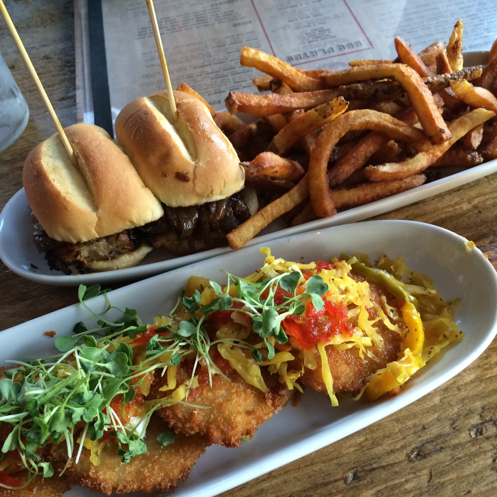 pork belly sliders and fried green tomatoes