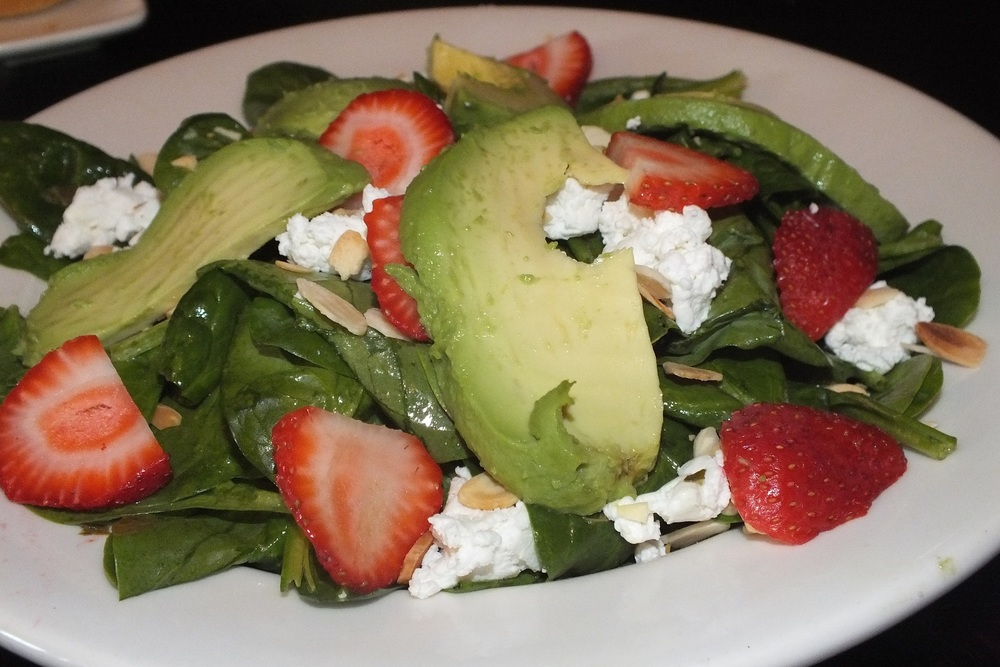 strawberry, avocado and goat cheese salad