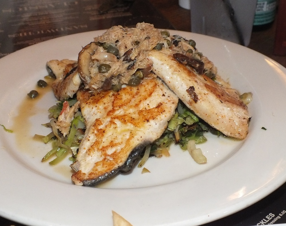 Trout with mushroom and crab fricasee