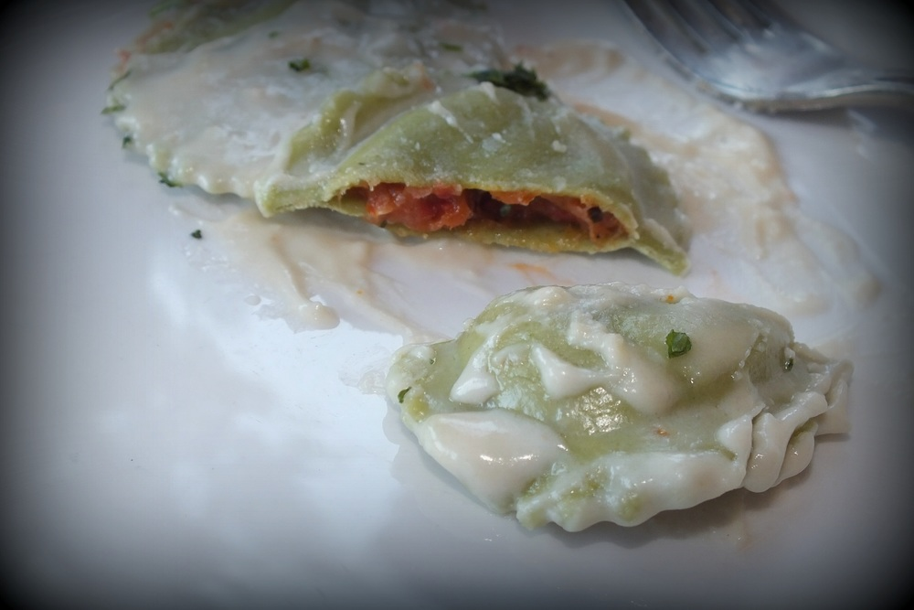 tomato basil filled pasta-delicious!!
