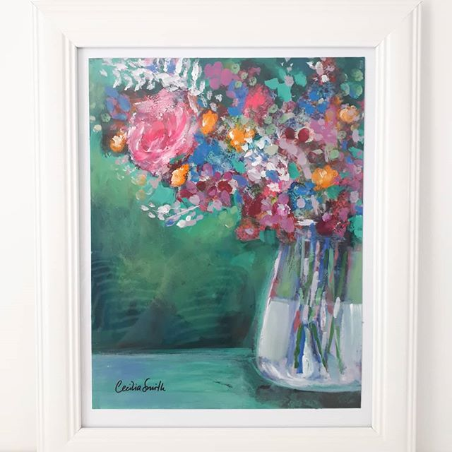 Here's another fab floral piece, this one is a bit bigger than an A4, then add a nice classic white frame. Original painting, $90 nzd, PM me for details!