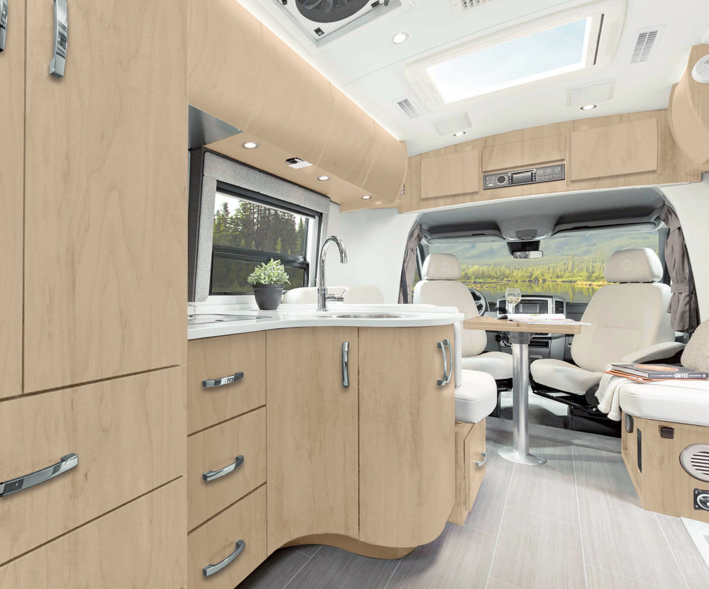 The Serenity's modern and elegant decor redefine the motor home experience - it's Mercedes Glamping!