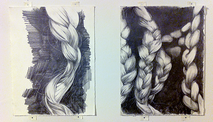 My drawings hanging at Fowler Arts Collective through Oct 2nd. Jemima (Left) Ghetto Fight (Right)