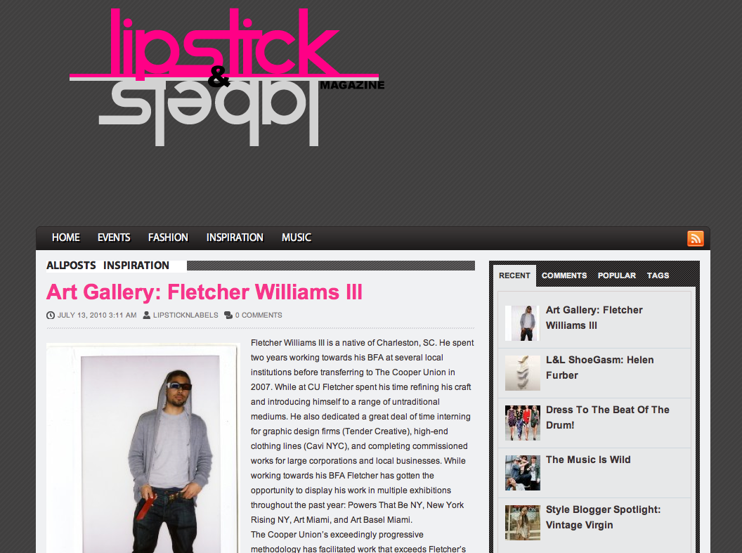 Lipstck & Labels features Fletcher III    Read it Here