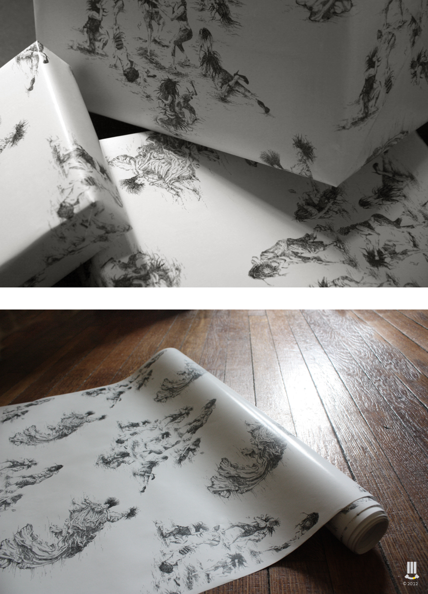 Custom Wrapping Paper + Weekend = Awesome This wrapping paper was created using two recent ink drawings - Saturday and Sunday (Weekend).  This is one of a few designs to come. I'm thinking Weave and Gold Grills….wait and see. This wrapping paper is for sale. If you'd like to purchase a roll | 19 x 72 IN | please email me - studio@fletcher3.com
