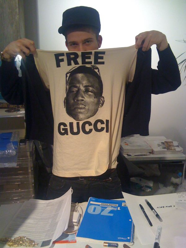 "FREE GUCCI.  Never throw out any of your ""free rapper"" shirts. You'll be sorry you did.  I'm glad he didn't throw away this shirt from the last time. GUCCI!"