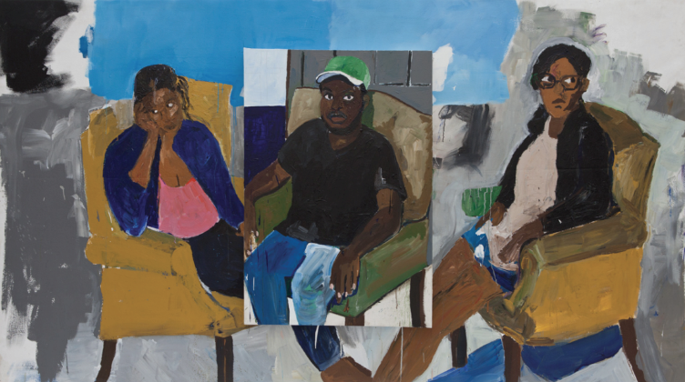 """Henry Taylor, The """"We"""" Hours, 2012, Acrylic on canvas, 73 1/2 x 131 1/2 x 4 1/4 inches"""