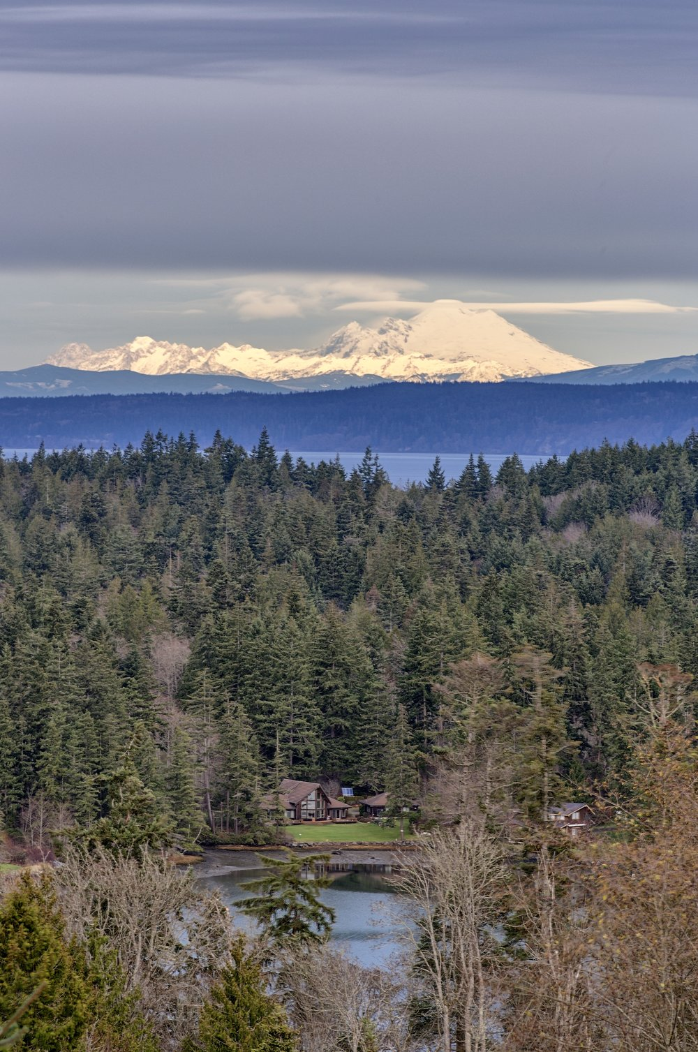 Mt. Baker with Mats Mats Bay in the foreground; shot today in Port Ludlow