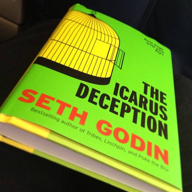 Airplane reading…my favorite marketing mind: #sethgodin, #icarus