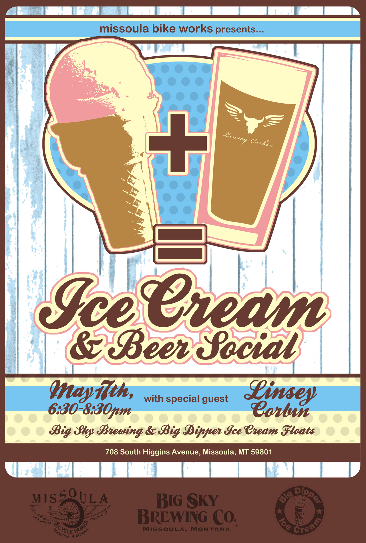 5/14/12    When you combine   Big Sky Brewing Company Beer   with   Big Dipper Ice Cream   at   Missoula Bike Works   and invite   Linsey Corbin  , fun things happen.  I hope to see you all there.