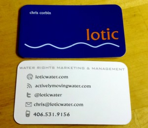 "New Business Card Design I am recreating this post from my water blog. I thought it was worth repeating, so I am. As a self-proclaimed ""marketing man"", I'm a big fan of design. Project design, product design, lifestyle design, web design, home design, graphic design and all the other areas of design. I'm also a fan of business card design. I've printed new business cards  for Lotic 4 separate times. I've also modified the card's design each and every time. The image above is the latest. And in my opinion the greatest. Will this new business card design allow Lotic to win new business or execute amazing water rights projects? No, but it is one small piece of the larger brand and an important initial introduction to its identity. Chances are, I'll make changes on round 5 too."